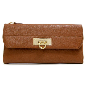 Salvatore Ferragamo Brown Gancini Zip Around Wallet