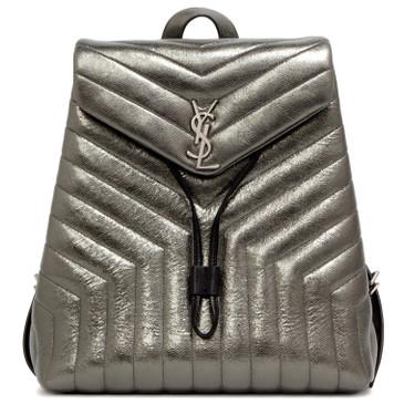 Saint Laurent Metallic Calfskin Matelasse Medium Loulou Monogram Backpack