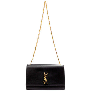 Saint Laurent Black Grain De Poudre Medium Monogram Kate Satchel