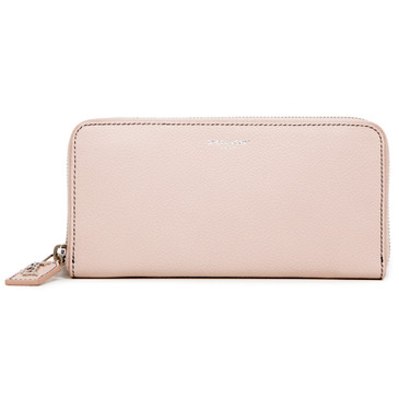 Saint Laurent Pink Grained Calfskin Rive Gauche Zip Around Wallet