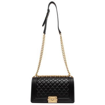 Chanel Black Quilted Calfskin Medium Boy Bag