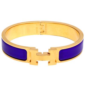 Hermes Blue Enamel Narrow Clic Clac  Bracelet