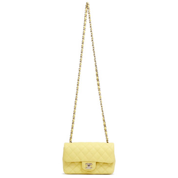 Chanel Light Yellow Quilted Caviar Mini Rectangular Flap