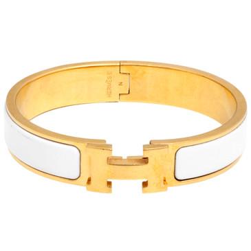 Hermes White Enamel Narrow Clic Clac   Bracelet