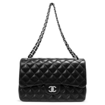 Chanel Black Quilted  Lambskin Jumbo Classic Double Flap