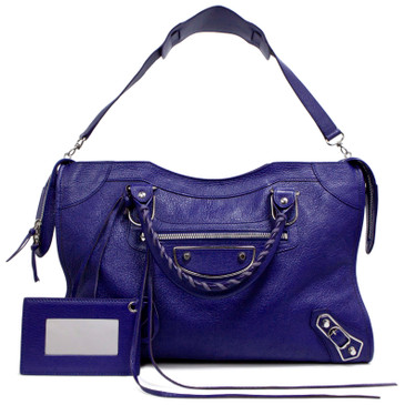 Balenciaga Cobalt Chevre Metallic Edge City