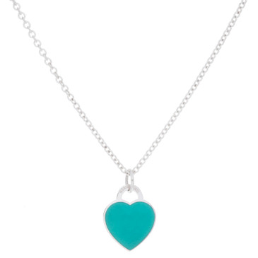 Tiffany & Co. Sterling Silver Enamel Heart Tag Necklace
