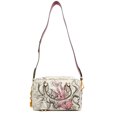 Prada Rabbit Print Opaline Glace Calf Bauletto Top Handle Bag
