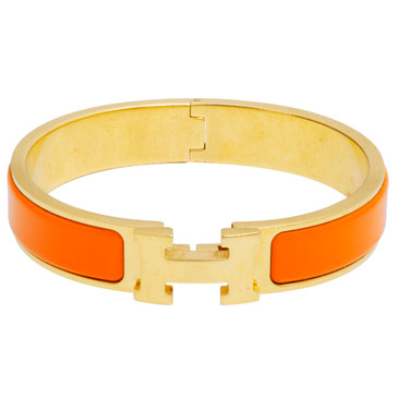 Hermes Orange Enamel Narrow Clic Clac  Bracelet