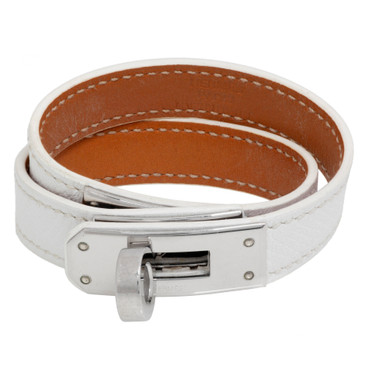 Hermes White Epsom Kelly Double  Tour Bracelet