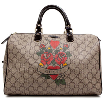 Gucci GG Plus Monogram Canvas Tattoo Heart Medium Joy Boston