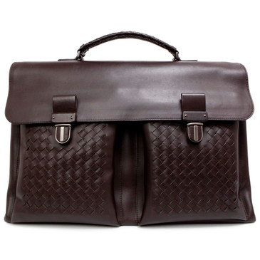 Bottega Veneta Dark Brown Calfskin Intrecciato Briefcase