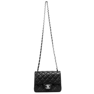Chanel Black Quilted Caviar Mini Square Flap