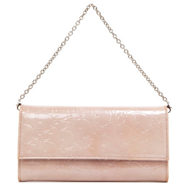 Christian Dior Lavender Signature Patent Chain Wallet
