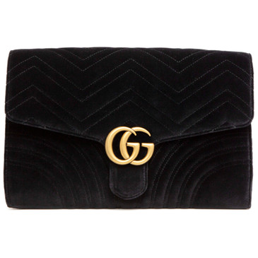 Gucci Black Velvet GG Marmont Clutch