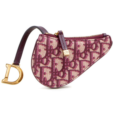 Dior Burgundy Oblique Saddle Coin Purse