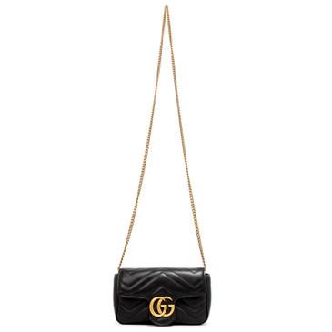 Gucci Black Calfskin Matelasse Super Mini GG Marmont