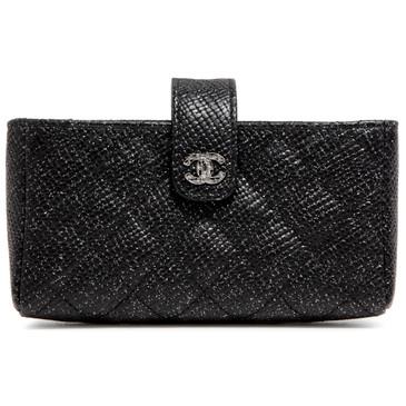 Chanel Black Glitter Caviar Quilted Mini Clutch