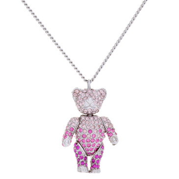 Christian Dior Crystal Teddy Bear Necklace