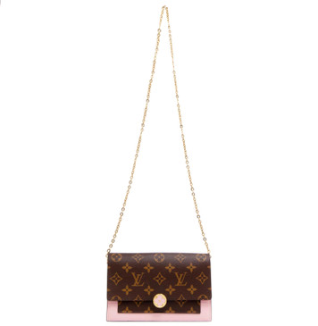 Louis Vuitton Rose Ballerine Monogram Flore Chain Wallet