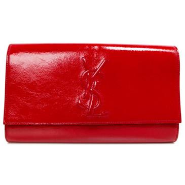 Saint Laurent Red Textured Patent Large Belle De Jour Clutch