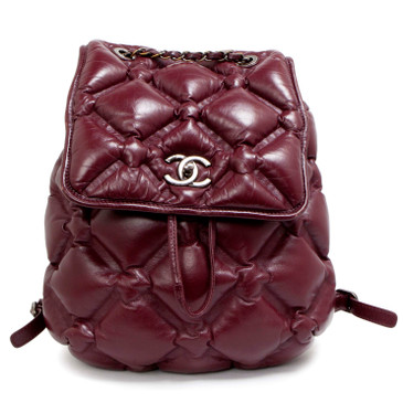 Chanel Burgundy Quilted Calfskin Chesterfield Backpack