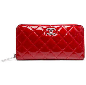 Chanel Red Patent Quilted Brilliant Zip Around Wallet