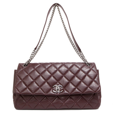 Chanel Burgundy Aged Calfskin 3 Compartment Quilted Flap Bag