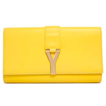 Saint Laurent Yellow Calfskin Classic Y Ligne Clutch