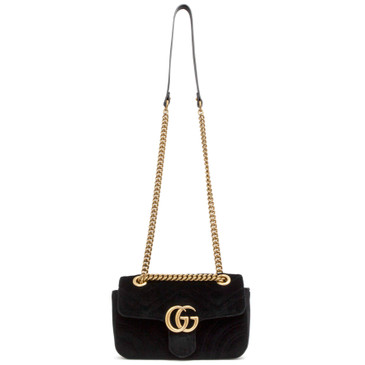 Gucci Black Velvet GG Marmont Mini Flap