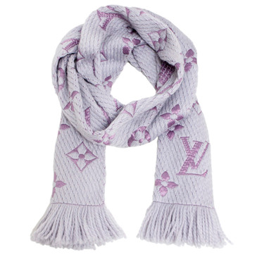 Louis Vuitton Grey Wool/Silk Logomania Shine Scarf