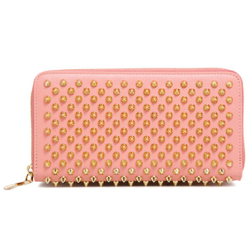 Christian Louboutin Pink Calfskin Panettone Spiked Zip Around Wallet