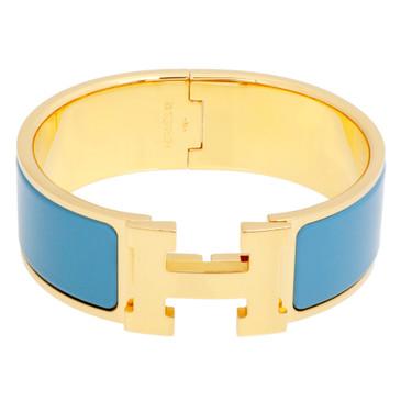 Hermes Blue Enamel  Wide Clic Clac Bracelet