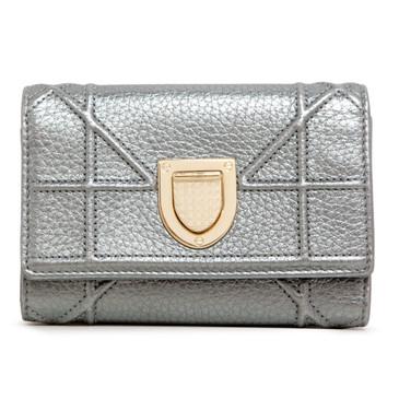 Christian Dior Metallic Silver Diorama Elancee Wallet