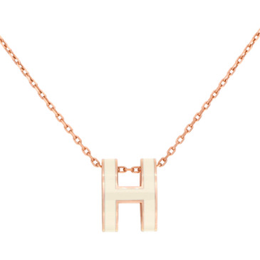 Hermes White Lacquered Pop H Pendant