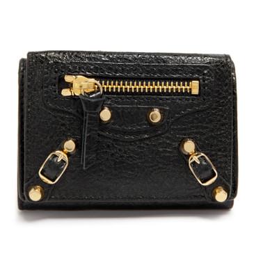 Balenciaga Black Agneau Classic Mini Wallet