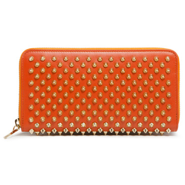 Christian Louboutin Orange Calfskin Panettone Spiked Zip Around Wallet