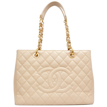 Chanel Beige Caviar Grand  Shopping Tote GST