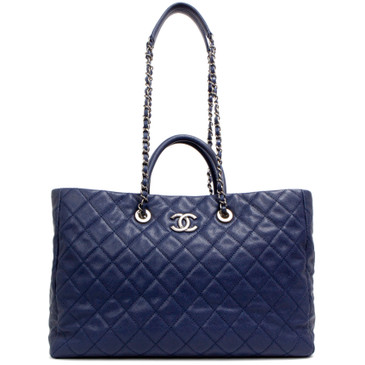 Chanel Blue Caviar Large Coco Handle Shopping Tote
