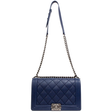 Chanel Blue Calfskin Double Stitch New Medium Boy Bag