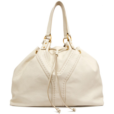 Saint Laurent Ivory/Khaki Green Reversible Double Sac Y Tote