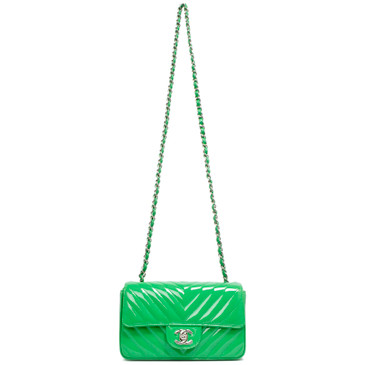 Chanel Green Chevron Quilted Patent Mini Rectangular Flap