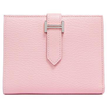 Hermes Rose Sakura Chevre Mysore Bearn Compact Wallet