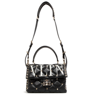 Valentino Black Lambskin VLTN Candystud Satchel