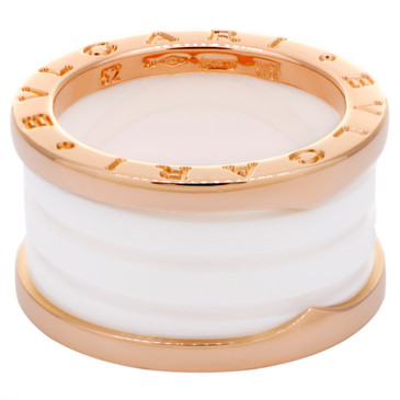 Bvlgari 18K Rose Gold & White Ceramic B.zero1 Four-Band Ring