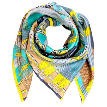 Hermes Silk Sangles En Zigzag Scarf 90