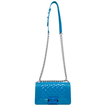 Chanel Blue Quilted Patent Small Plexiglass Boy Bag