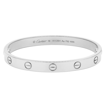 Cartier 18K  White Gold Love Bracelet