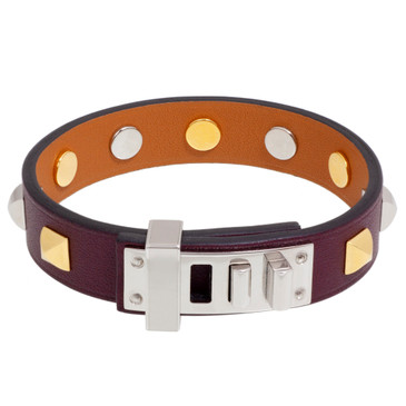 Hermes Bordeaux Swift Mini Dog Clous Carres Bracelet
