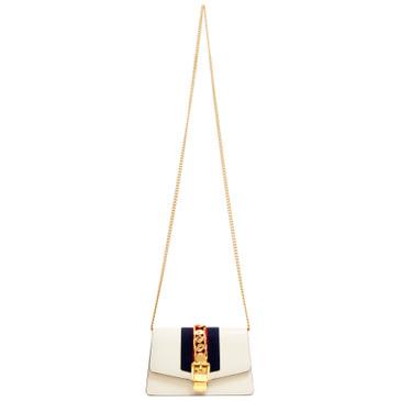 Gucci White Super Mini Sylvie Chain Bag